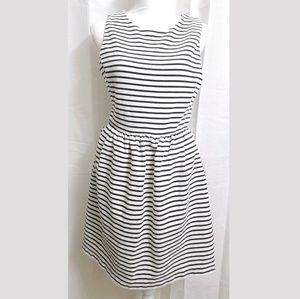 J.Crew Striped Daybreak Black/White Dress MEDIUM